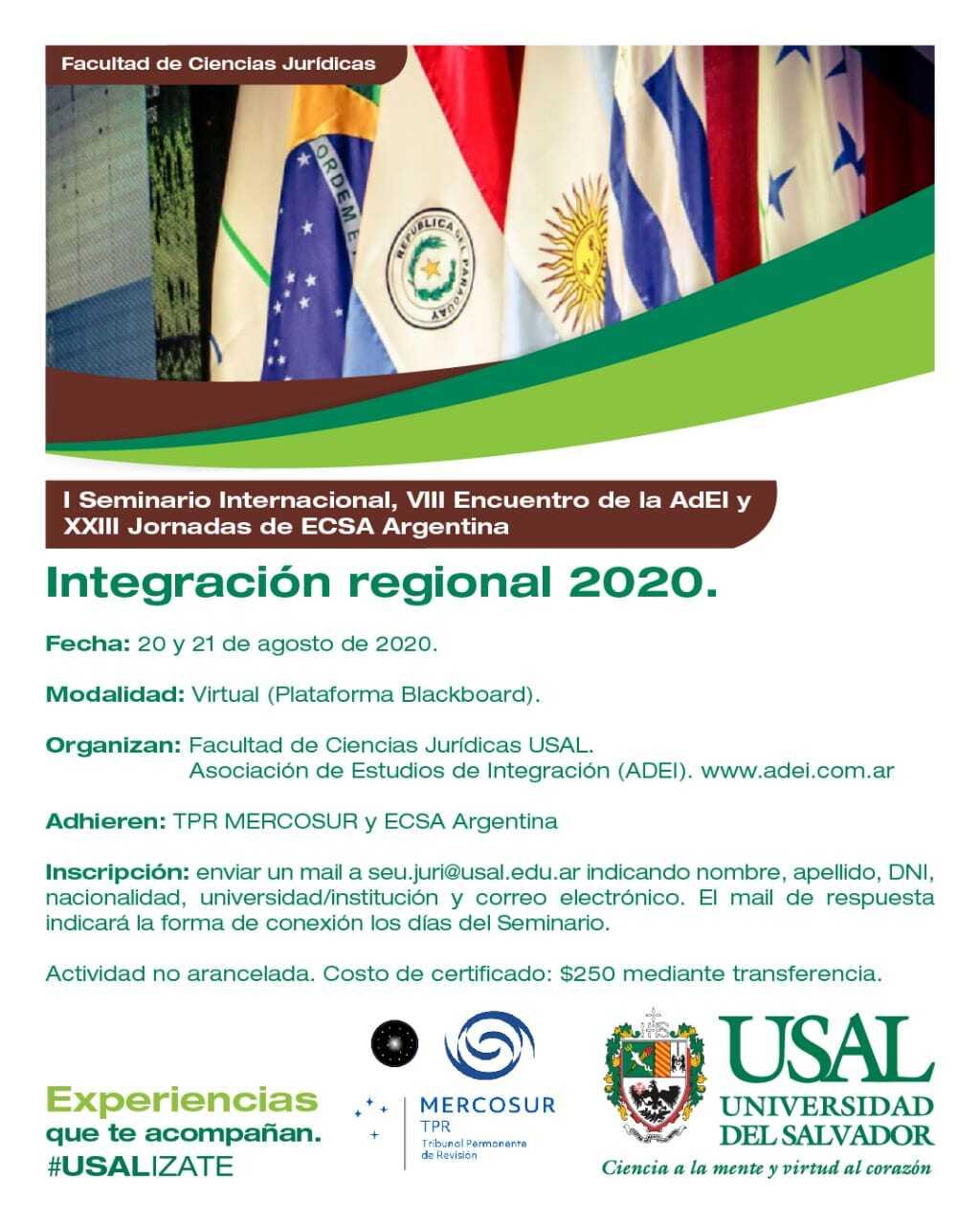 XXIII Jornadas de ECSA Argentina – Integración regional 2020