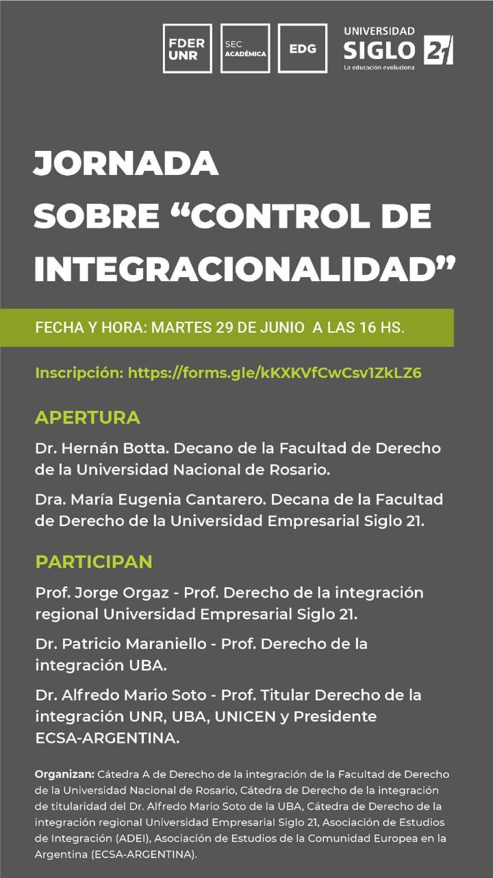 JORNADA SOBRE «CONTROL DE INTEGRACIONALIDAD»